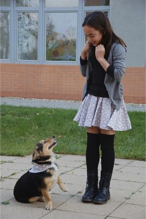 lovely made by me skirt - boots - black shirt - socks - grey H&M cardigan