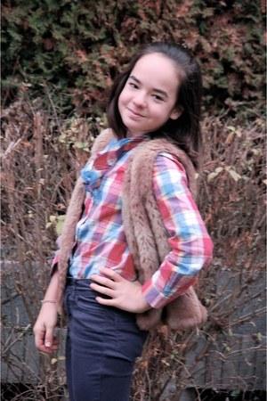 red blouse - navy H&M jeans - tan faux fur next vest