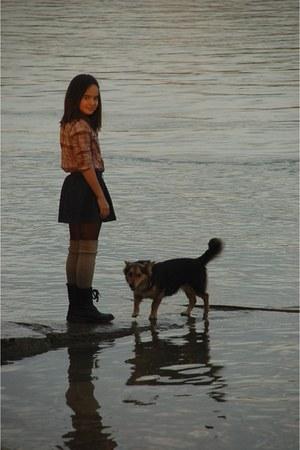 black boots - navy denim H&M skirt - dark brown Calzedonia stockings