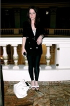 dolce and gabana blazer - American Apparel pants - Sarah lanzi shirt - YSL purse