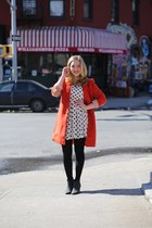 red orange coat Urban Outfitters coat - black booties Gap boots