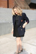 gold Caravelle watch - black leather cut out Lulus dress - navy vintage blazer