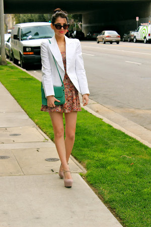 white cotton Forever 21 blazer - salmon cotton H&M dress