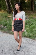 ivory Forever 21 top - black Forever 21 skirt - red Forever 21 belt