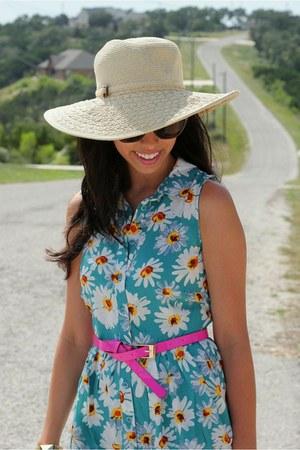 sky blue asos dress - hot pink asos belt - mustard Wanted wedges