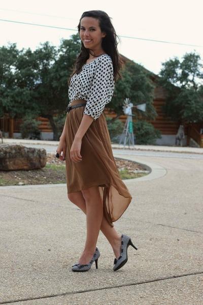 bronze Forever 21 skirt - kohls heels - ivory Forever 21 top