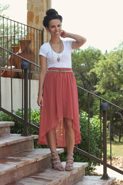salmon Forever 21 skirt - tan GoJane wedges - white Old Navy top
