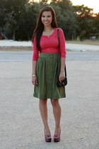 coral Forever 21 top - olive green eShakti skirt - kohls wedges