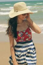 navy Forever 21 skirt - Keds shoes - Aldo sunglasses - red Forever 21 swimwear