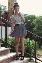 camel Forever 21 skirt - eggshell Forever 21 dress