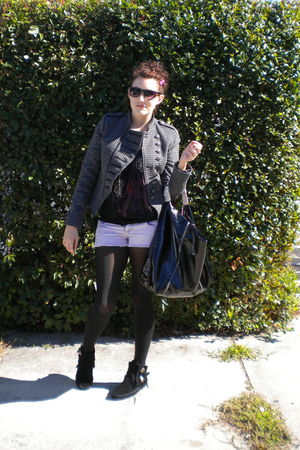 black Zara jacket - black elle cardigan - purple Amethyst shorts - black vera wa