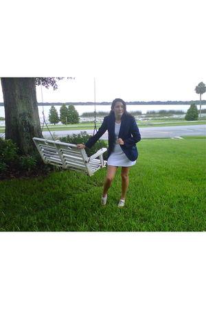 blue thrifted blazer - white RicRac dress - brown Forever 21 shoes