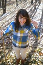 blue American Eagle shirt - gray DOTS shirt - gray Bullhead jeans - brown Ross b