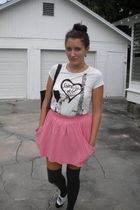 white Forever 21 shirt - pink Zara skirt - gray Target socks - black Candies sho