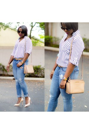 Express shirt - tan Michael Kors bag - neutral pumps