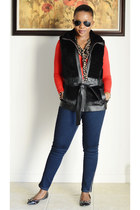 Guess vest - Forever 21 jeans - Old Navy cardigan - Sole Society flats