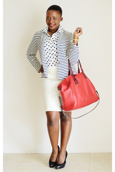 JCrew blazer - JCrew shirt - Cole Haan bag - Ralph Lauren pumps - JCrew skirt