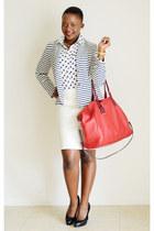 JCrew blazer - JCrew shirt - Cole Haan bag - Ralph Lauren pumps - JCrew skirt