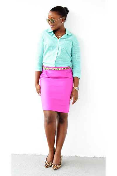 JCrew skirt - JCrew shirt - ray-ban sunglasses - Cole Haan pumps