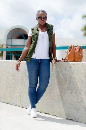 blue jeans - olive green Target vest