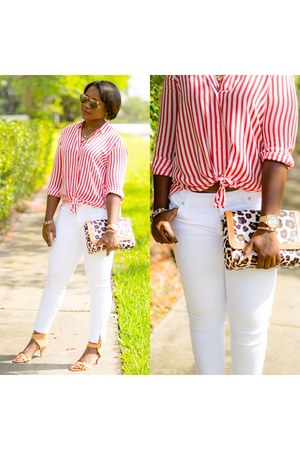 red Zara shirt - white jeans