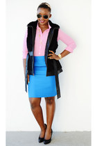 JCrew shirt - JCrew skirt - Guess vest - Ralph Lauren pumps