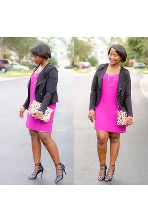 black shoes - magenta Express dress - black Target jacket