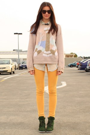 light pink vintage sweater - mustard Ruby jeans - dark khaki vintage shirt