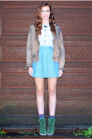blue huffer skirt - brown vintage jacket - lime green vintage shirt