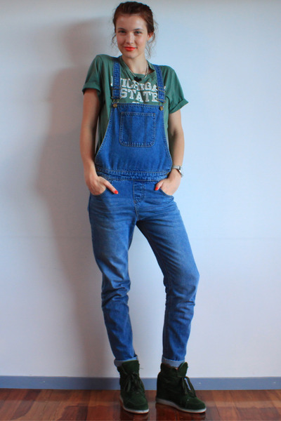 green vintage t-shirt - forest green Jeffrey Campbell sneakers