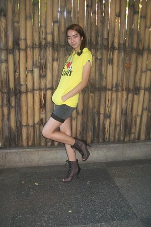 heels MNicole by Figlia boots - black DIY shorts - yellow AM Blvd blouse