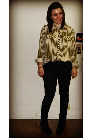 thrifted top - H by Halston boots - American Eagle jeans
