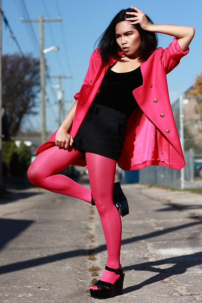 pink wool vintage coat - pink neon tights H&M tights - black thrifted shorts