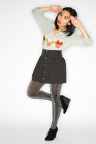 heather gray Minnie Muse sweater - black suede wedge shoes