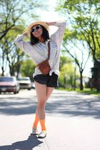 brown H&M hat - beige vintage shirt - black American Apparel shorts - orange We