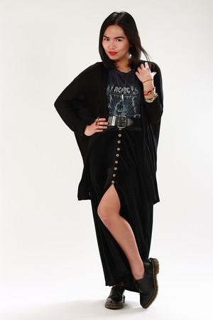 black cardigan - black Velvet skirt - navy ACDC tee shirt - black doc martens sh