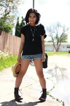 black DIY t-shirt - blue vintage shorts - black vintage purse - brown vintage bo