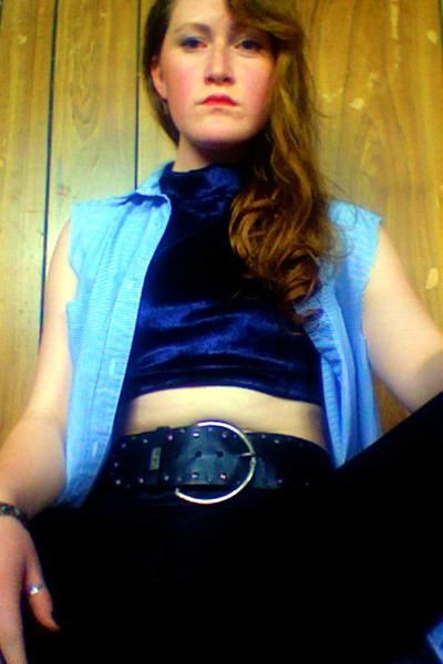 crop Self Made top - leather Dotti tights - studded vintage belt