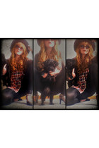 4 heels vintage shoes - leather vintage jacket - 1 tartan vintage shirt