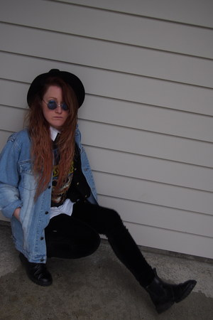 denim jacket - black Fedora hat - Guns & Roses shirt - Velvet tights