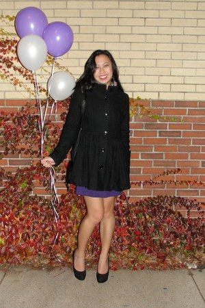 black bubble hem coat H&M coat - black Lauren Conrad pumps