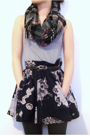 Express top - FCUK skirt - H&M scarf
