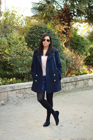 navy Yeënko coat - navy Zara skirt - Zara necklace - zalando loafers