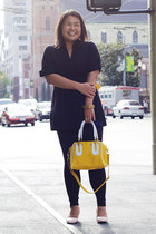 yellow MayMay bag - black Forever 21 leggings - black Wet Seal shirt