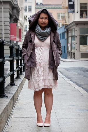 heather gray Forever 21 jacket - light pink Wet Seal dress - charcoal gray scarf