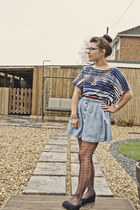 gray Primark tights - navy Topshop top - light blue H&M skirt