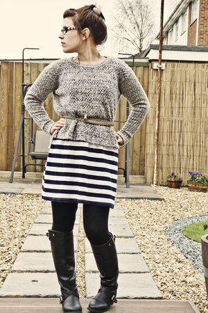 new look jumper - Primark boots - Matalan dress
