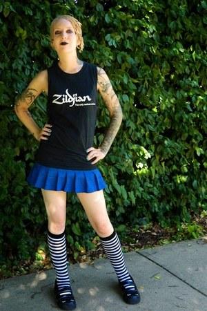 black TUK shoes - black socks - blue skirt - black DIY t-shirt