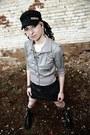 Black-demonia-boots-black-jagermeister-hat