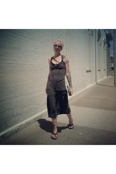 charcoal gray DIY dress - charcoal gray Steve Madden sunglasses